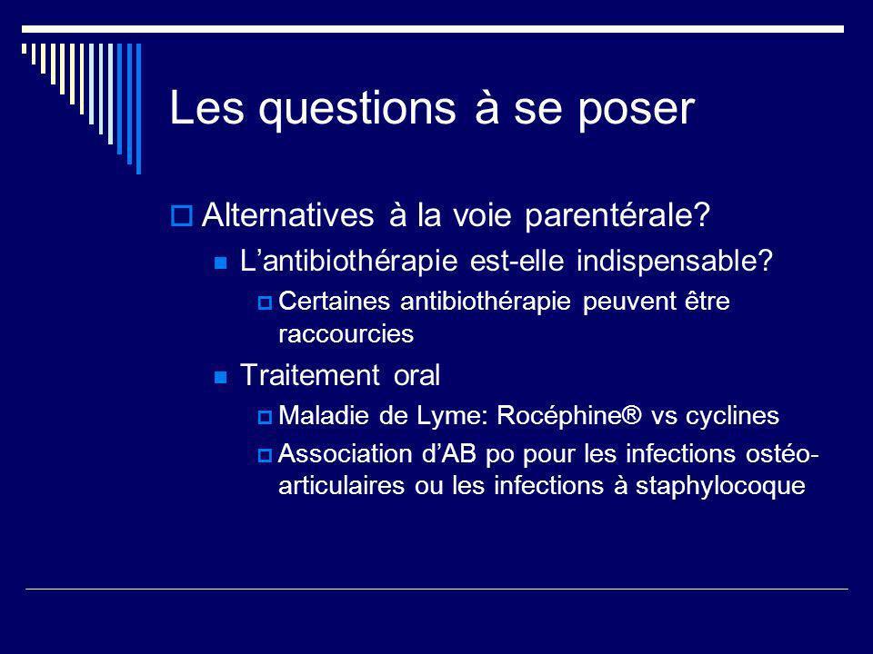 Les questions à se poser Alternatives à la voie parentérale? Lantibiothérapie est-elle indispensable? Certaines antibiothérapie peuvent être raccourci