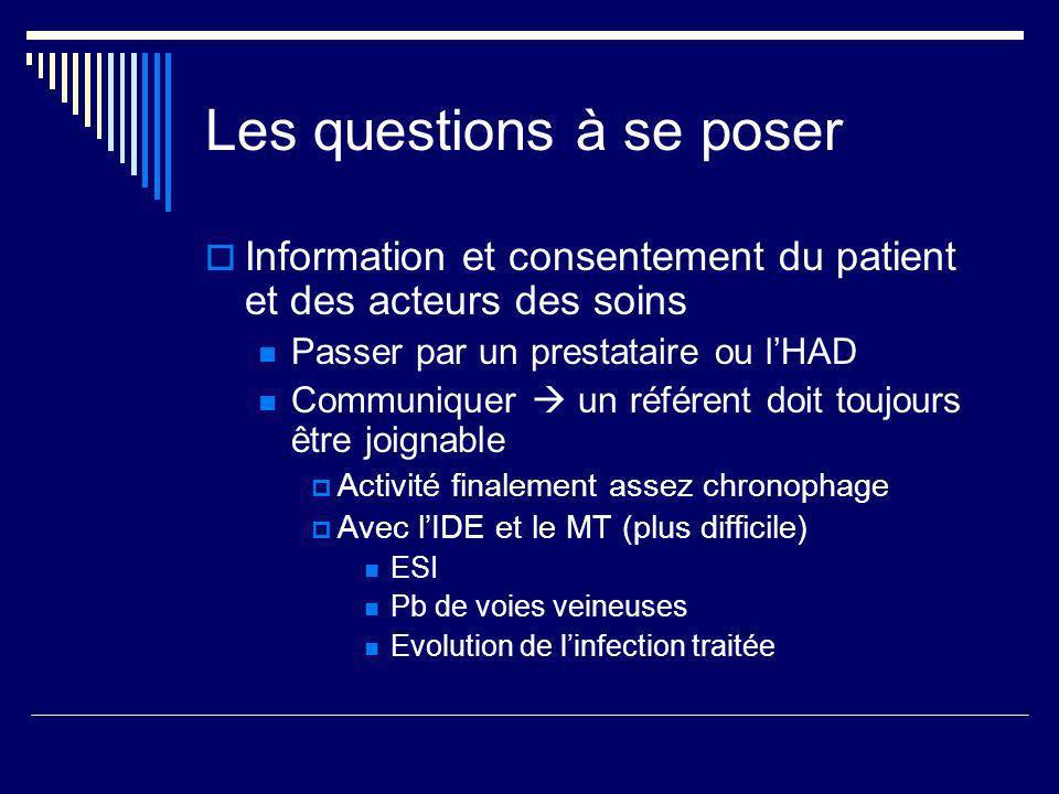 Les questions à se poser Information et consentement du patient et des acteurs des soins Passer par un prestataire ou lHAD Communiquer un référent doi