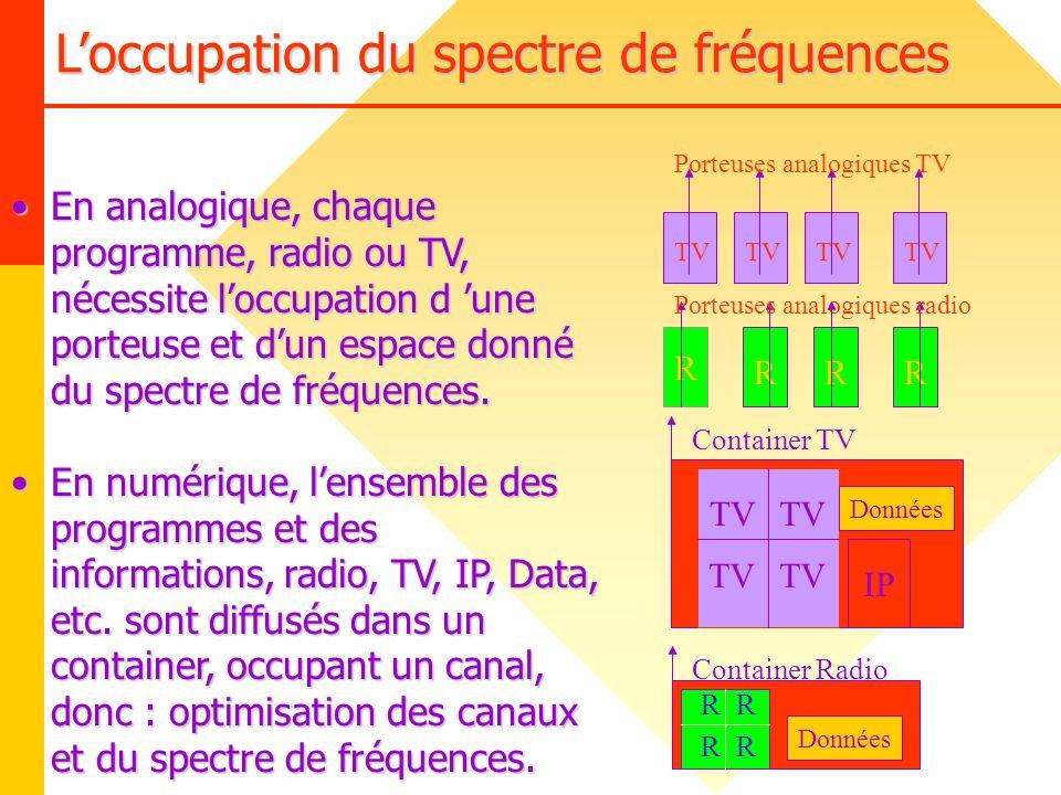 Loccupation du spectre de fréquences TV Données IP TV R RRR Porteuses analogiques radio TV Container TV R Données R RR En analogique, chaque programme