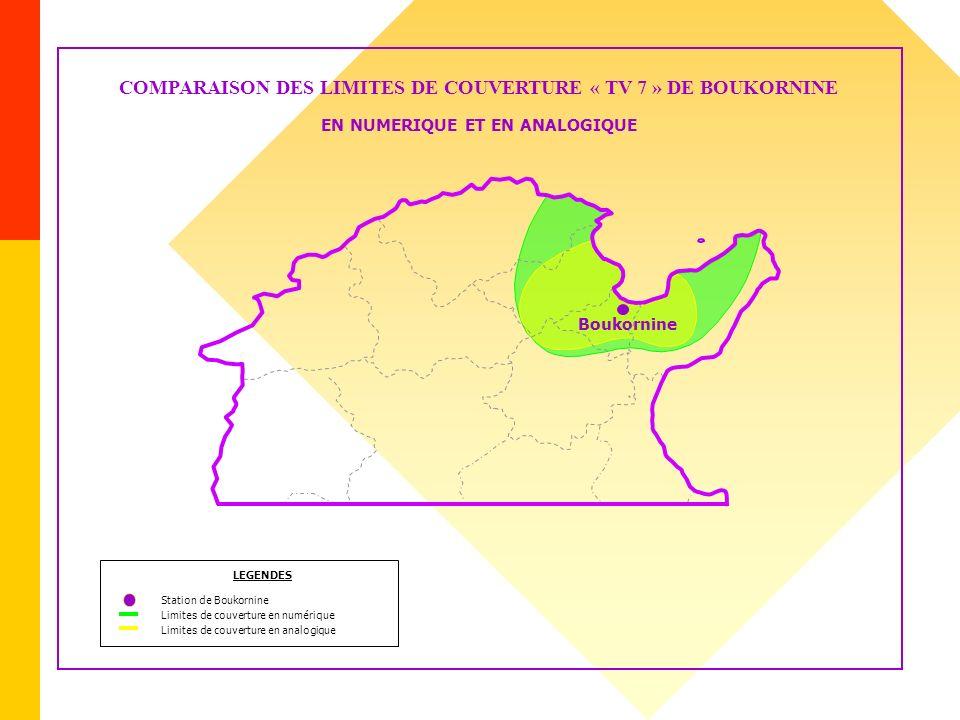 Boukornine COMPARAISON DES LIMITES DE COUVERTURE « TV 7 » DE BOUKORNINE EN NUMERIQUE ET EN ANALOGIQUE Limites de couverture en numérique LEGENDES Stat