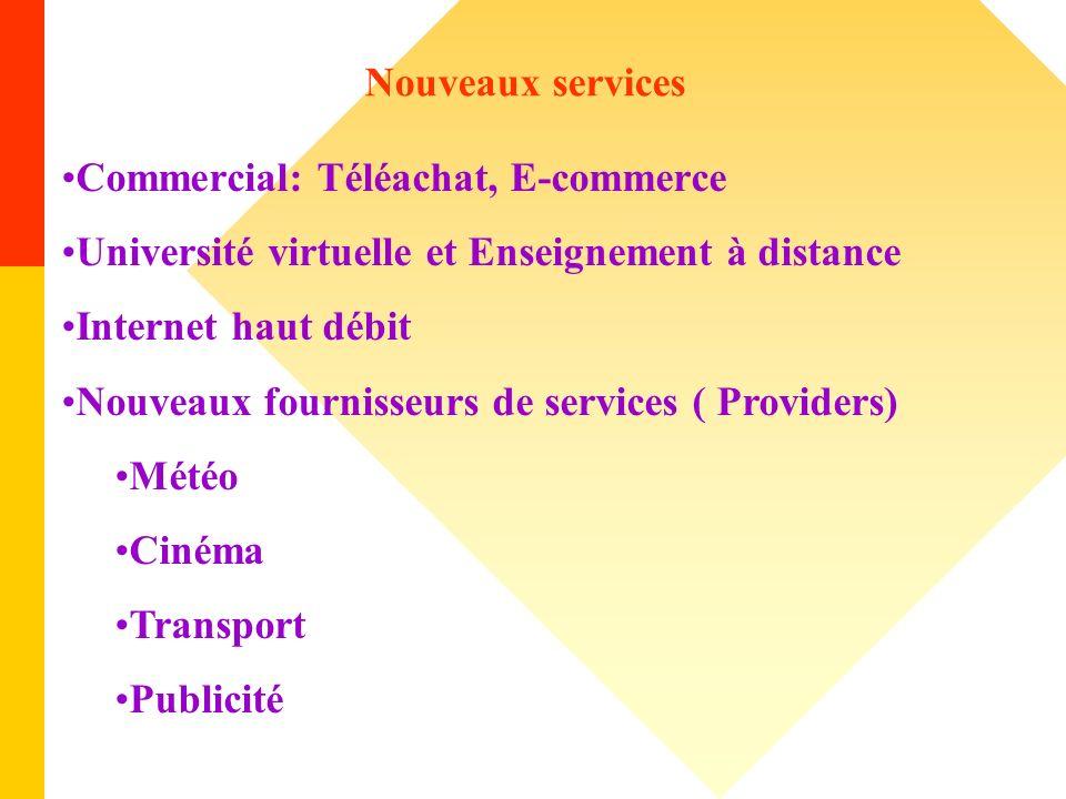 Nouveaux services Commercial: Téléachat, E-commerce Université virtuelle et Enseignement à distance Internet haut débit Nouveaux fournisseurs de servi