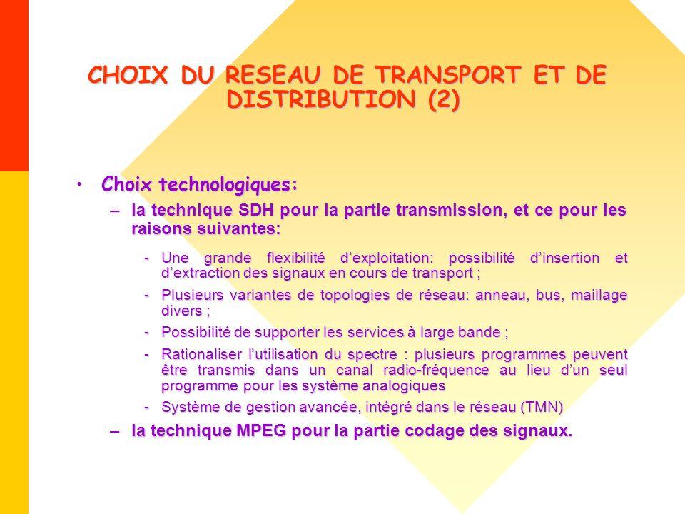 CHOIX DU RESEAU DE TRANSPORT ET DE DISTRIBUTION (2) CHOIX DU RESEAU DE TRANSPORT ET DE DISTRIBUTION (2) Choix technologiques:Choix technologiques: –la