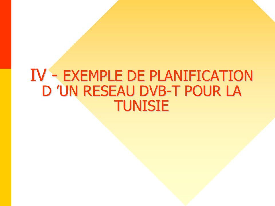 IV - EXEMPLE DE PLANIFICATION D UN RESEAU DVB-T POUR LA TUNISIE