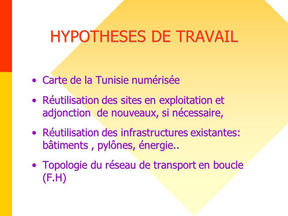 HYPOTHESES DE TRAVAIL Carte de la Tunisie numériséeCarte de la Tunisie numérisée Réutilisation des sites en exploitation et adjonction de nouveaux, si