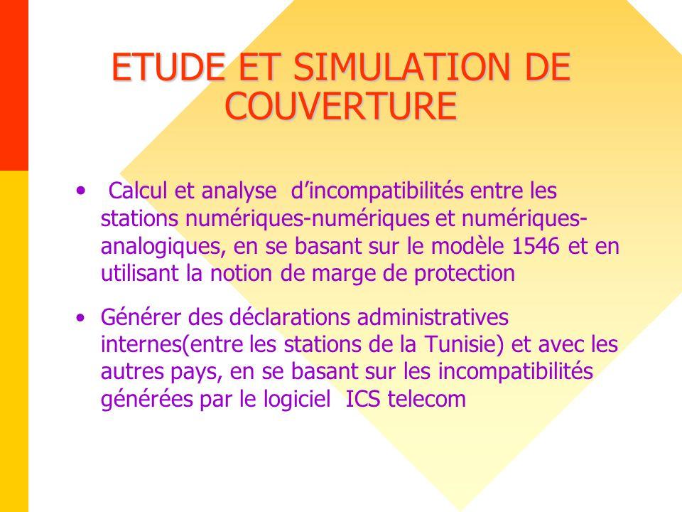 ETUDE ET SIMULATION DE COUVERTURE Calcul et analyse dincompatibilités entre les stations numériques-numériques et numériques- analogiques, en se basan