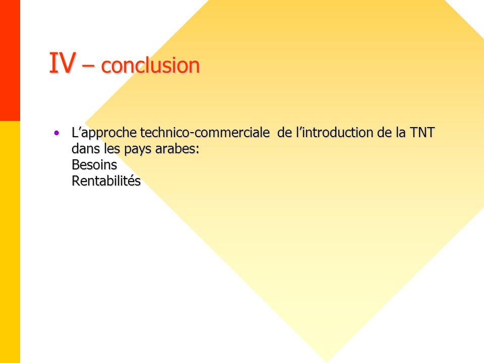 IV – conclusion Lapproche technico-commerciale de lintroduction de la TNT dans les pays arabes: Besoins RentabilitésLapproche technico-commerciale de