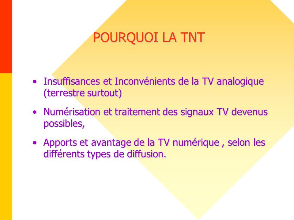 POURQUOI LA TNT POURQUOI LA TNT Insuffisances et Inconvénients de la TV analogique (terrestre surtout)Insuffisances et Inconvénients de la TV analogiq