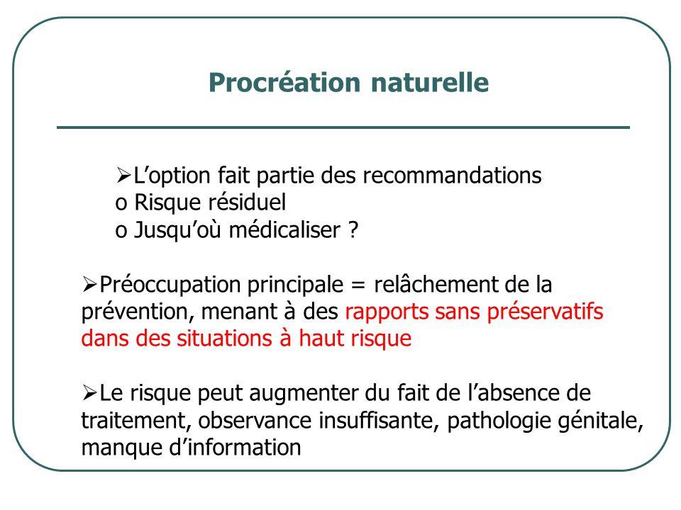 Procréation naturelle Loption fait partie des recommandations o Risque résiduel o Jusquoù médicaliser ? Préoccupation principale = relâchement de la p