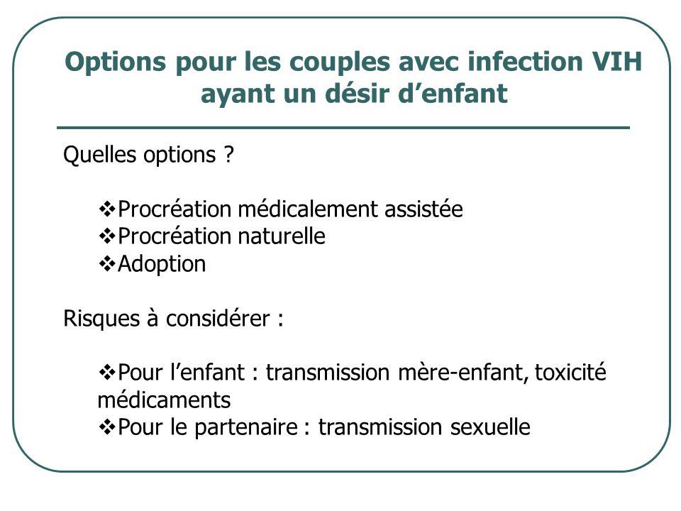 Options pour les couples avec infection VIH ayant un désir denfant Quelles options ? Procréation médicalement assistée Procréation naturelle Adoption
