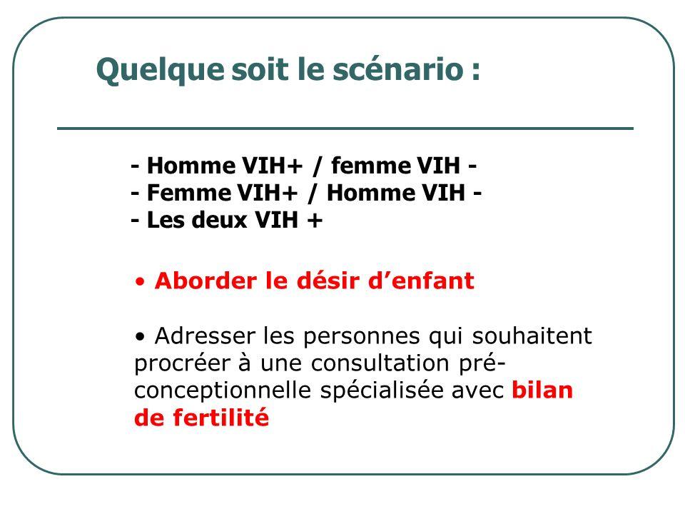 Prise en charge 1/ Dépistage - dans de bonnes conditions… 2/ Trithérapie - La charge virale VIH plasmatique doit être inférieure au seuil à 30 SA +++ 3/ Définir les modalités daccouchement - césarienne ou non - traitement de lenfant