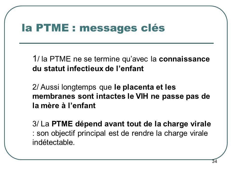 la PTME : messages clés 34 1 / la PTME ne se termine quavec la connaissance du statut infectieux de lenfant 2/ Aussi longtemps que le placenta et les