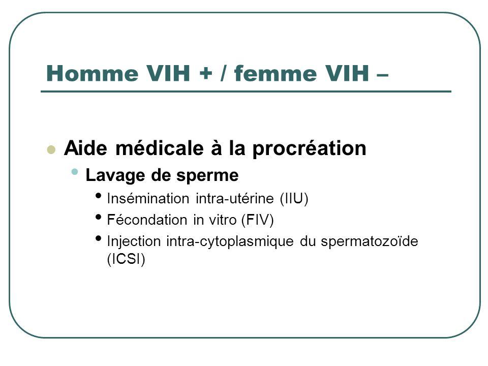Femme VIH + / Homme VIH – Autres options : PMA en cas dinfertilité Auto- insémination NB : Choisir les antirétroviraux compatibles avec une grossesse lorsquune femme infectée a un projet denfant