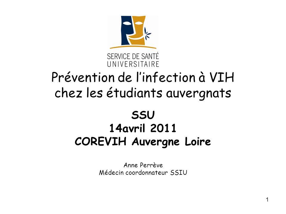 1 Prévention de linfection à VIH chez les étudiants auvergnats SSU 14avril 2011 COREVIH Auvergne Loire Anne Perrève Médecin coordonnateur SSIU