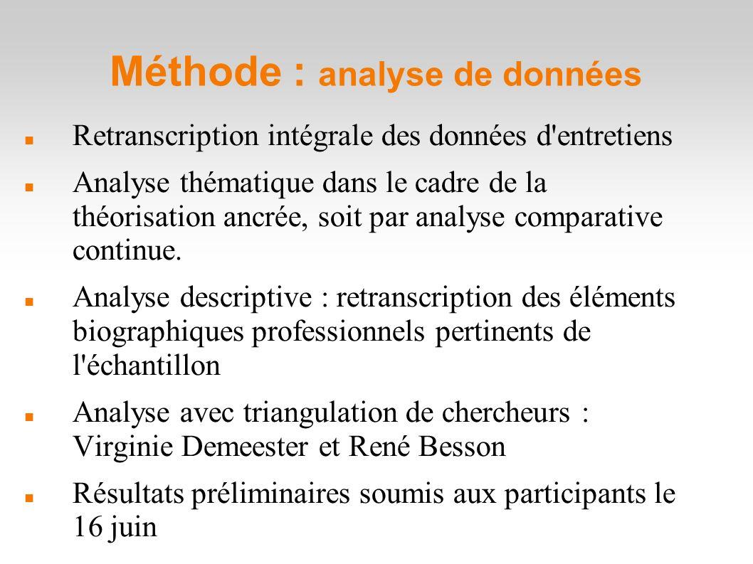 Méthode : analyse de données Retranscription intégrale des données d entretiens Analyse thématique dans le cadre de la théorisation ancrée, soit par analyse comparative continue.