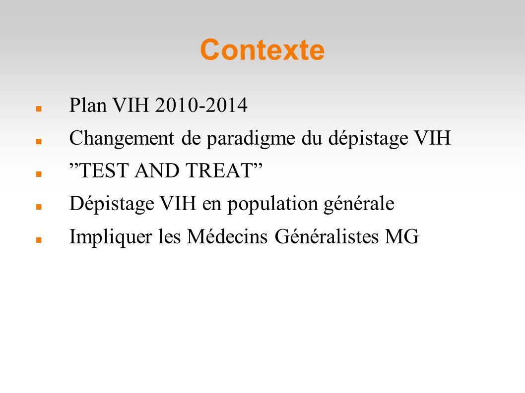 Contexte Plan VIH 2010-2014 Changement de paradigme du dépistage VIH TEST AND TREAT Dépistage VIH en population générale Impliquer les Médecins Généralistes MG
