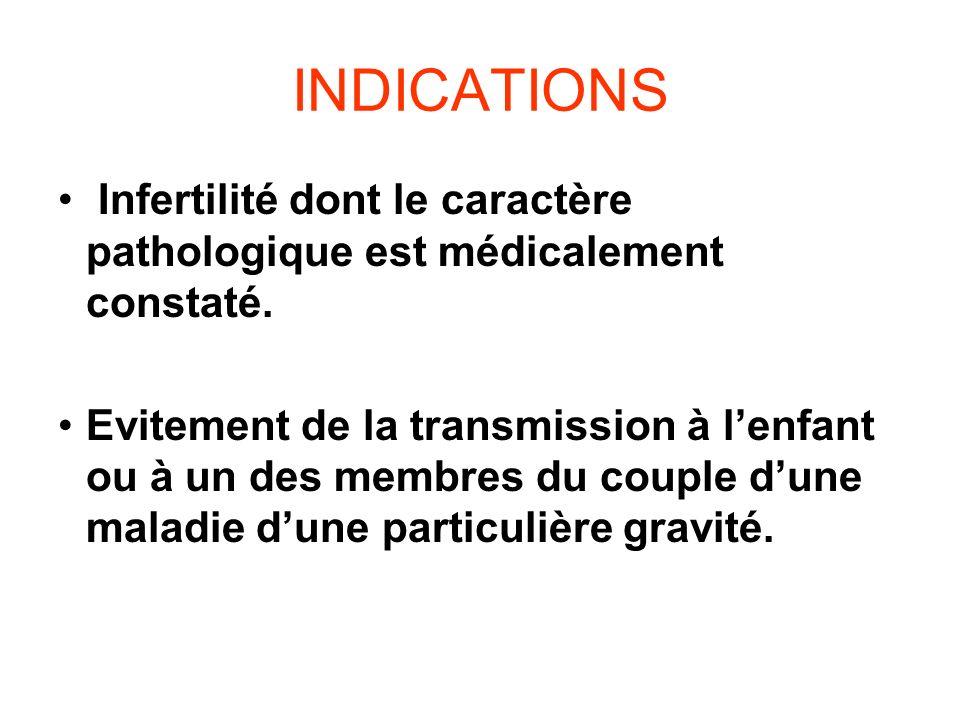 INDICATIONS Infertilité dont le caractère pathologique est médicalement constaté. Evitement de la transmission à lenfant ou à un des membres du couple