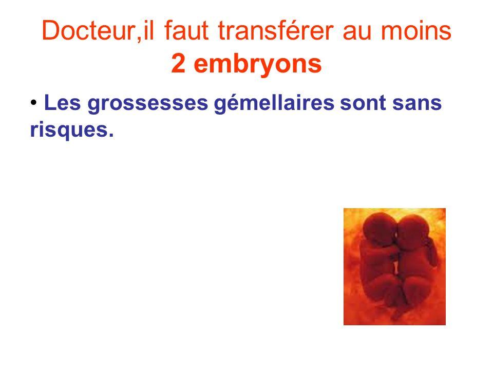 Docteur,il faut transférer au moins 2 embryons Les grossesses gémellaires sont sans risques.