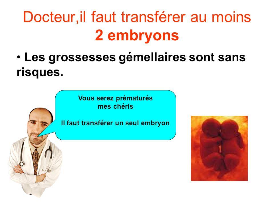 Vous serez prématurés mes chéris Il faut transférer un seul embryon Docteur,il faut transférer au moins 2 embryons