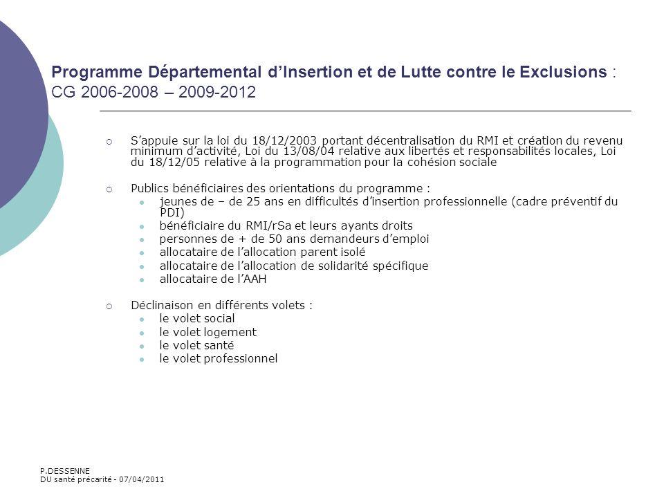 Programme Départemental dInsertion et de Lutte contre le Exclusions : CG 2006-2008 – 2009-2012 Sappuie sur la loi du 18/12/2003 portant décentralisati