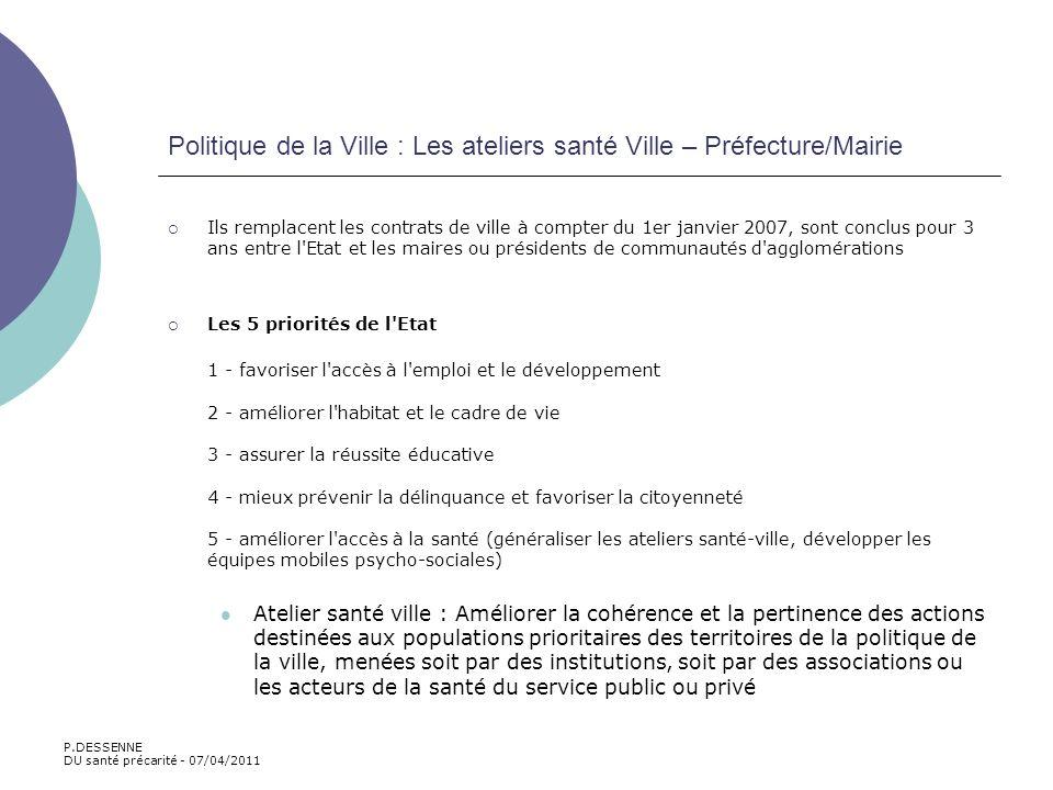 Politique de la Ville : Les ateliers santé Ville – Préfecture/Mairie Ils remplacent les contrats de ville à compter du 1er janvier 2007, sont conclus
