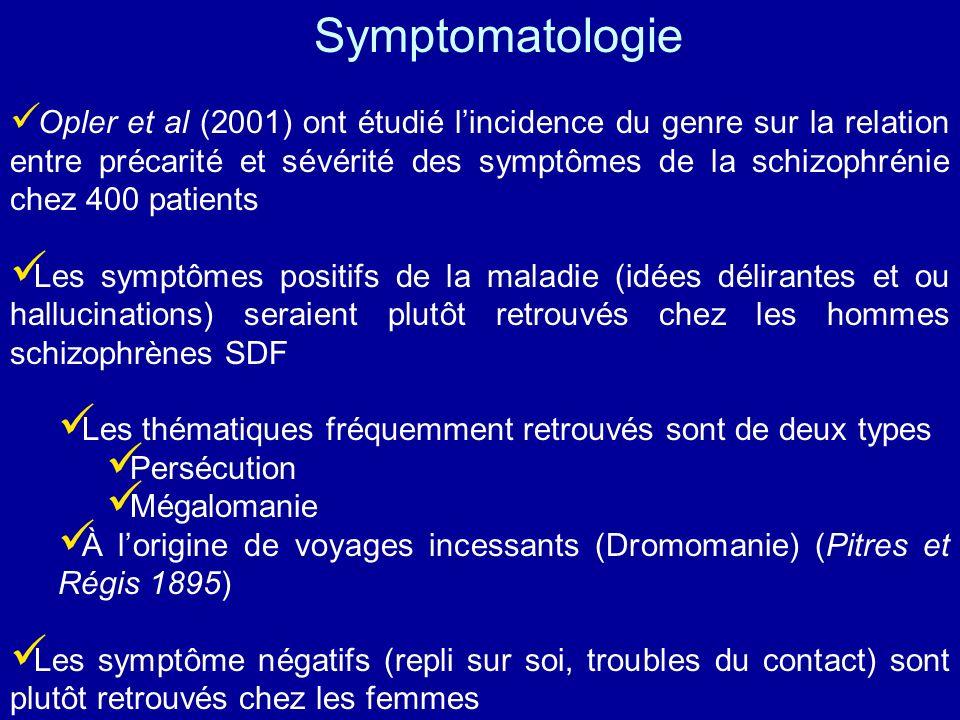 Opler et al (2001) ont étudié lincidence du genre sur la relation entre précarité et sévérité des symptômes de la schizophrénie chez 400 patients Les
