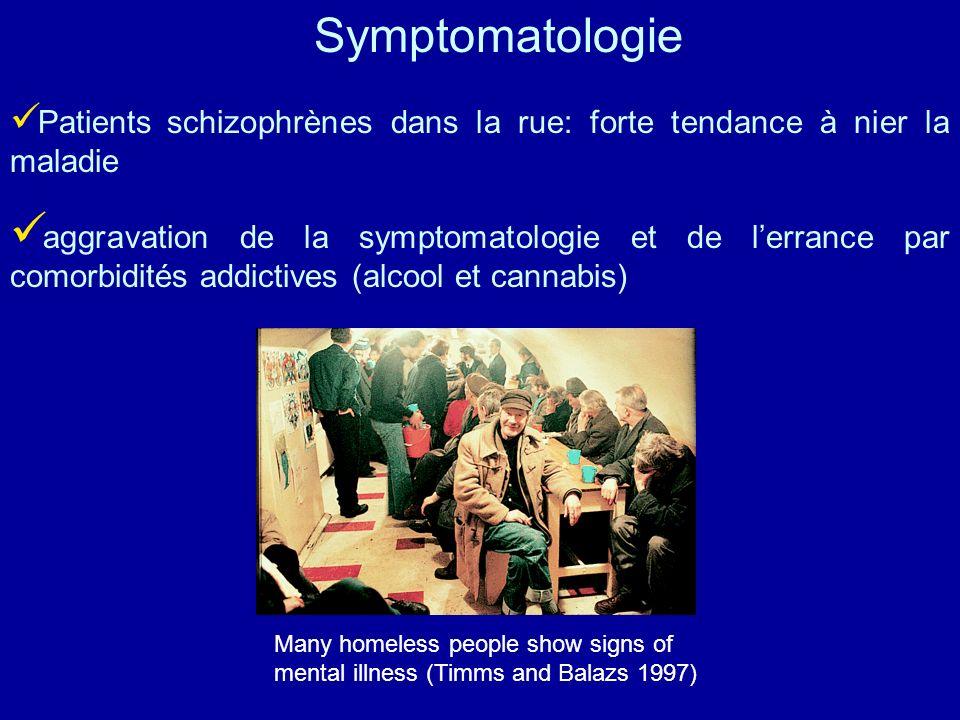 Patients schizophrènes dans la rue: forte tendance à nier la maladie aggravation de la symptomatologie et de lerrance par comorbidités addictives (alc