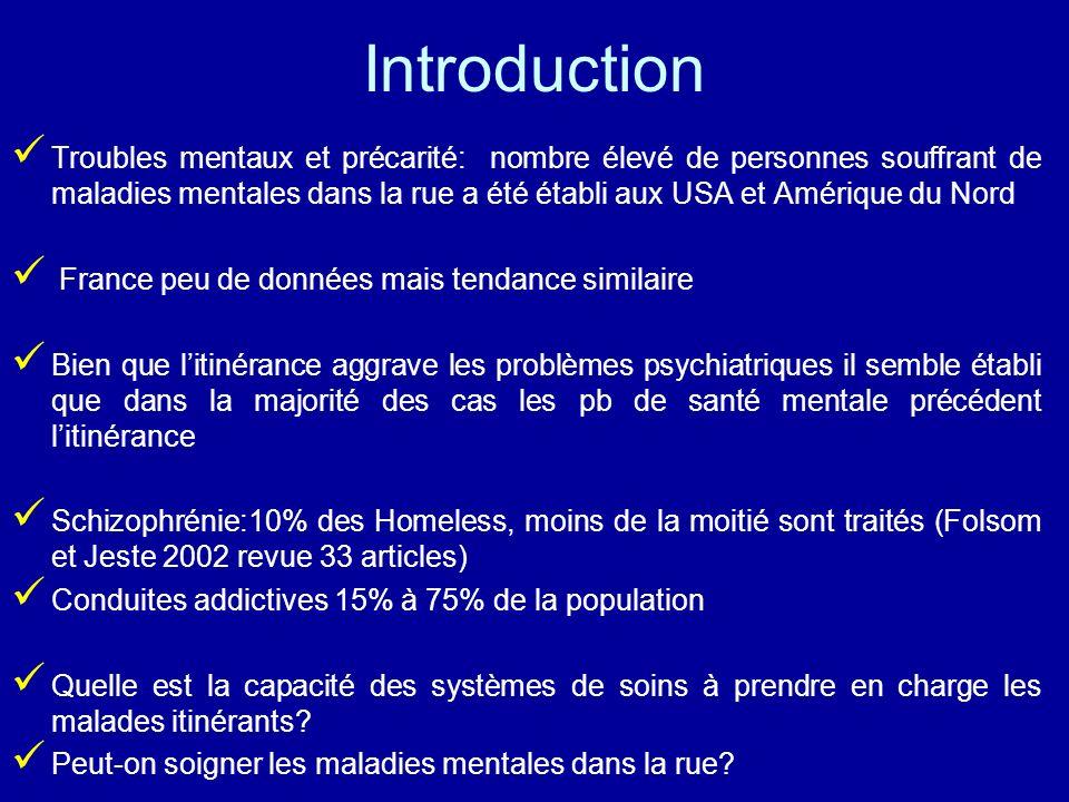 Introduction Troubles mentaux et précarité: nombre élevé de personnes souffrant de maladies mentales dans la rue a été établi aux USA et Amérique du N
