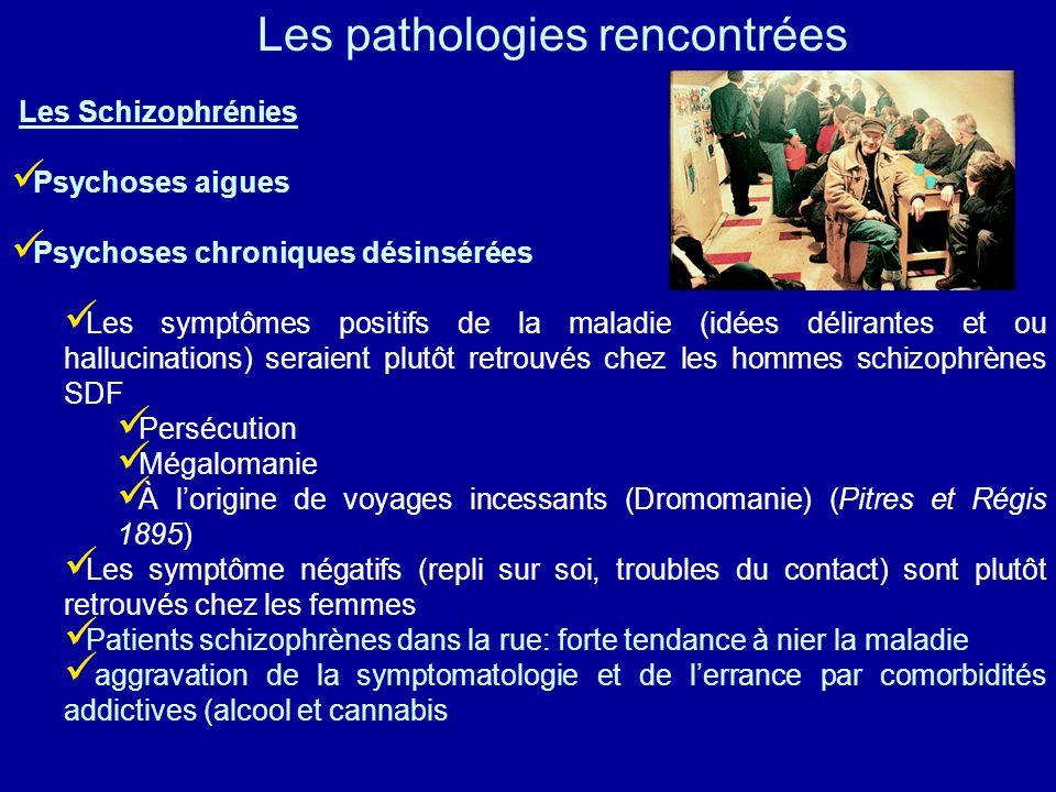 Les Schizophrénies Psychoses aigues Psychoses chroniques désinsérées Les symptômes positifs de la maladie (idées délirantes et ou hallucinations) sera