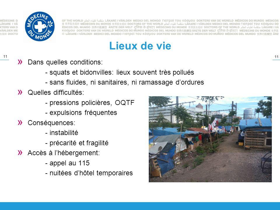 11 Lieux de vie » Dans quelles conditions: - squats et bidonvilles: lieux souvent très pollués - sans fluides, ni sanitaires, ni ramassage dordures »