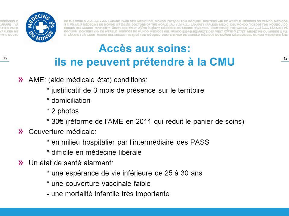 12 Accès aux soins: ils ne peuvent prétendre à la CMU » AME: (aide médicale état) conditions: * justificatif de 3 mois de présence sur le territoire *