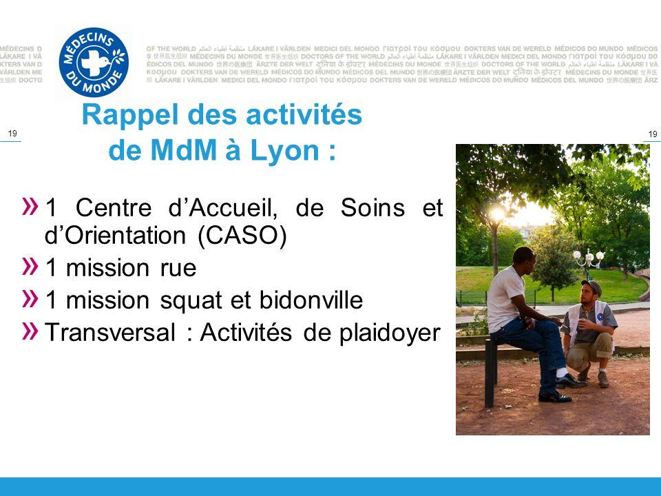19 Rappel des activités de MdM à Lyon : » 1 Centre dAccueil, de Soins et dOrientation (CASO) » 1 mission rue » 1 mission squat et bidonville » Transve