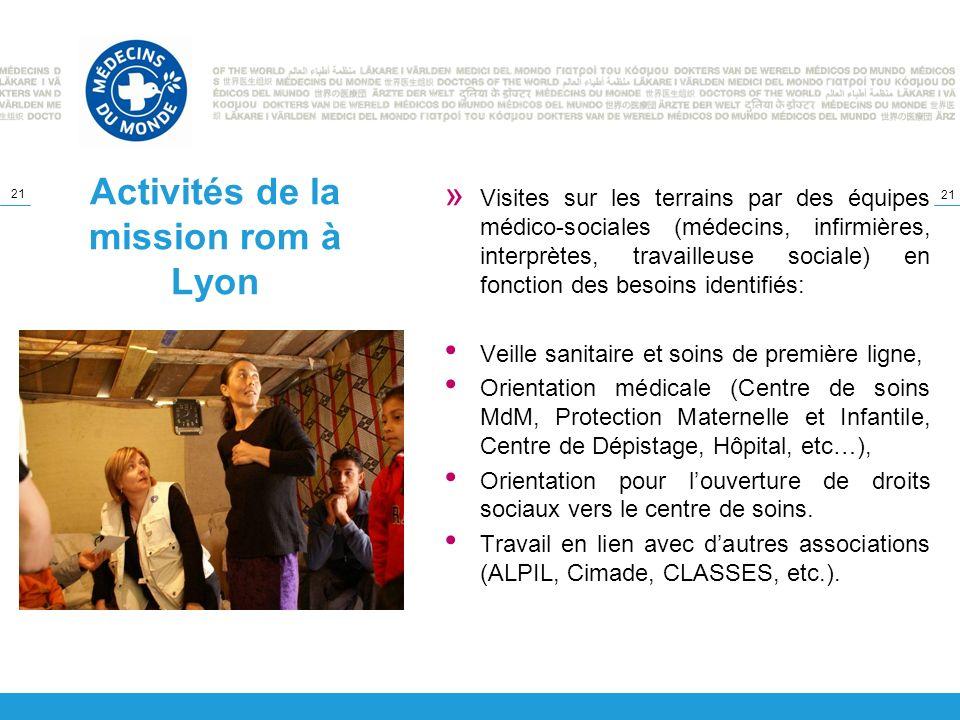 21 Activités de la mission rom à Lyon » Visites sur les terrains par des équipes médico-sociales (médecins, infirmières, interprètes, travailleuse soc