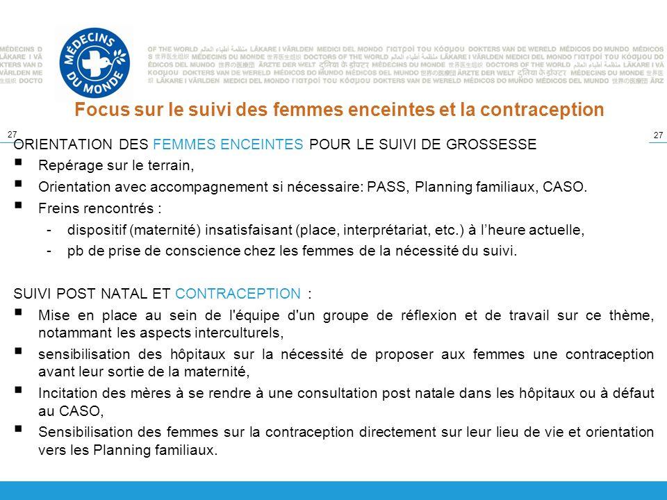 27 Focus sur le suivi des femmes enceintes et la contraception ORIENTATION DES FEMMES ENCEINTES POUR LE SUIVI DE GROSSESSE Repérage sur le terrain, Or