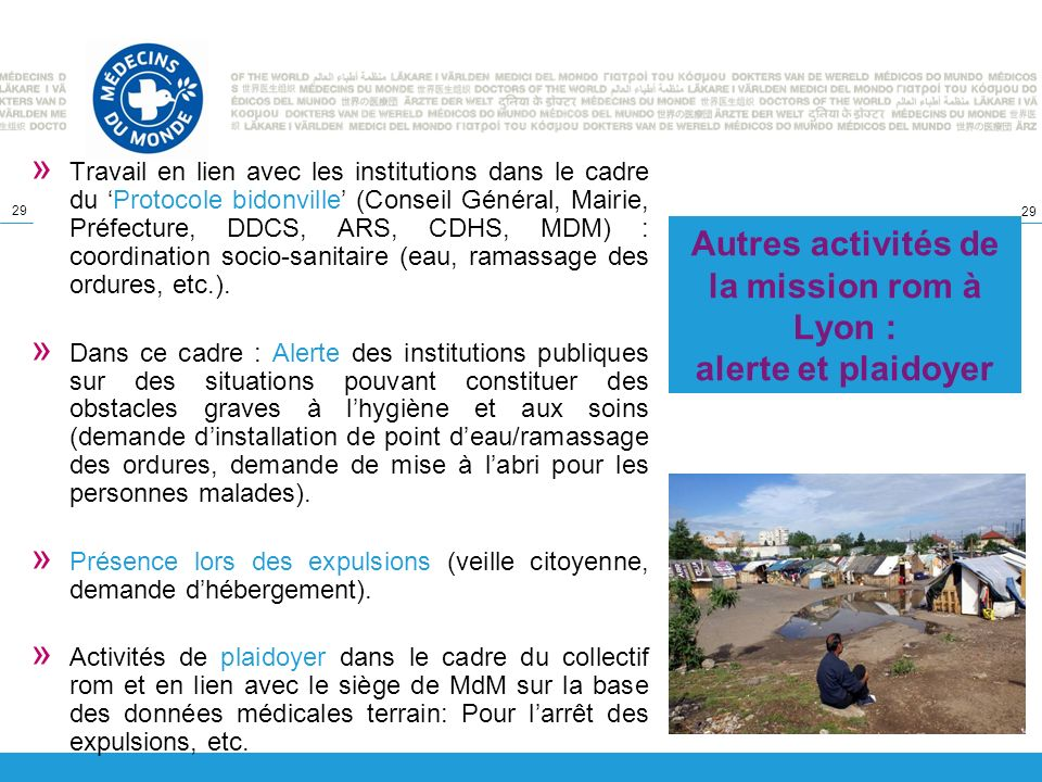 29 » Travail en lien avec les institutions dans le cadre du Protocole bidonville (Conseil Général, Mairie, Préfecture, DDCS, ARS, CDHS, MDM) : coordin