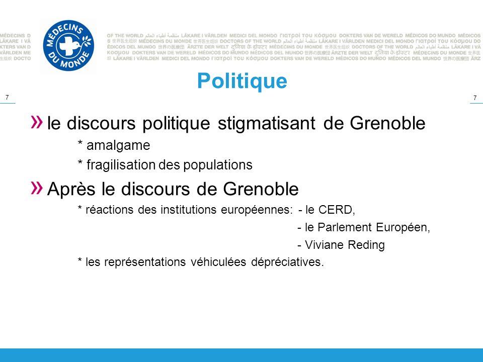 7 7 Politique » le discours politique stigmatisant de Grenoble * amalgame * fragilisation des populations » Après le discours de Grenoble * réactions