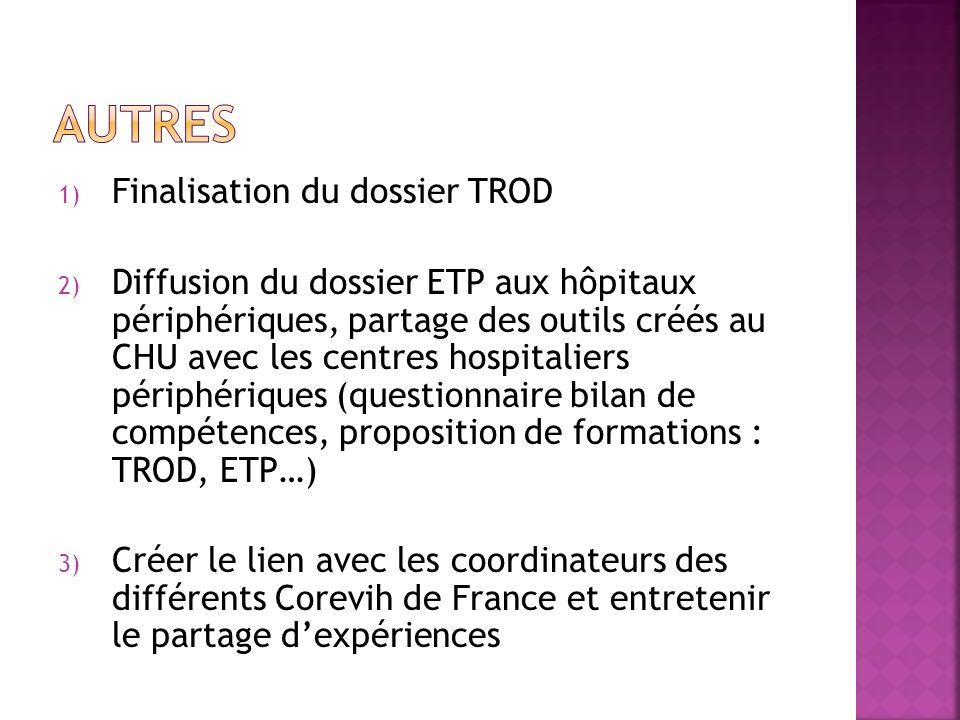 1) Finalisation du dossier TROD 2) Diffusion du dossier ETP aux hôpitaux périphériques, partage des outils créés au CHU avec les centres hospitaliers