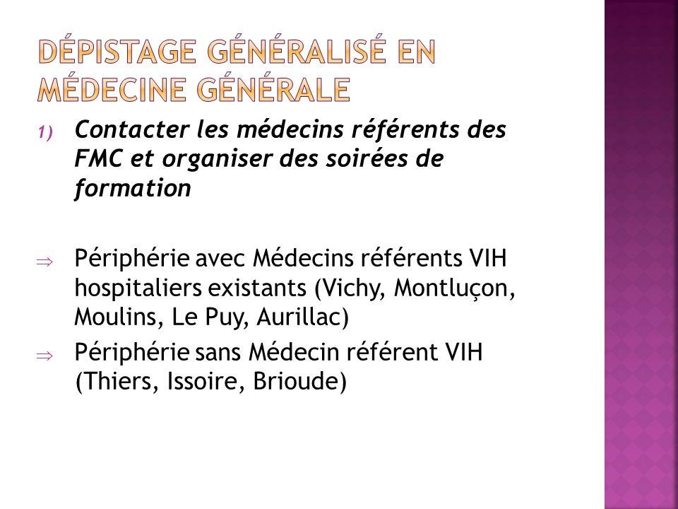 1) Contacter les médecins référents des FMC et organiser des soirées de formation Périphérie avec Médecins référents VIH hospitaliers existants (Vichy