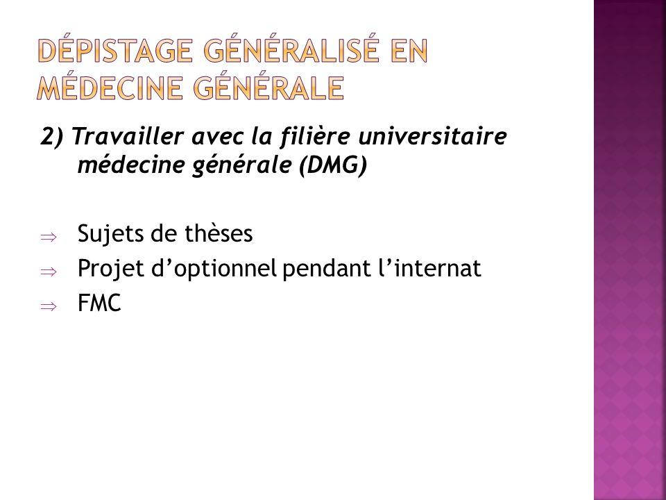 2) Travailler avec la filière universitaire médecine générale (DMG) Sujets de thèses Projet doptionnel pendant linternat FMC