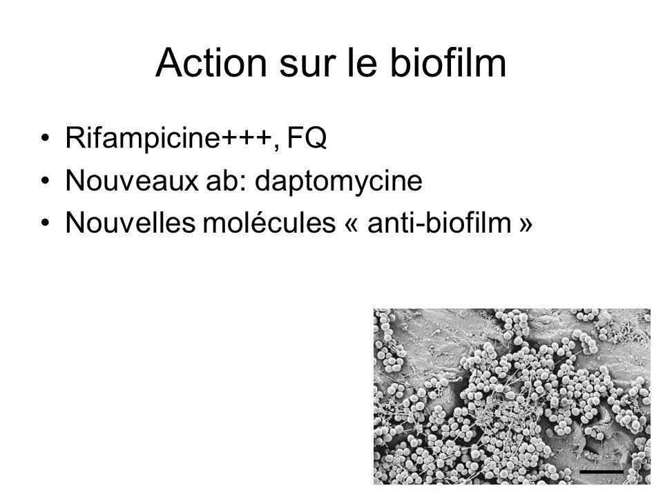 Action sur le biofilm Rifampicine+++, FQ Nouveaux ab: daptomycine Nouvelles molécules « anti-biofilm »