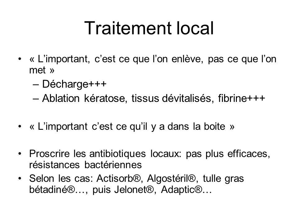 Traitement local « Limportant, cest ce que lon enlève, pas ce que lon met » –Décharge+++ –Ablation kératose, tissus dévitalisés, fibrine+++ « Limporta