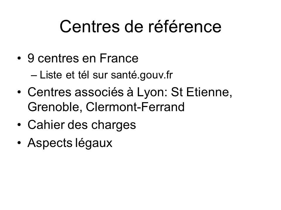 Centres de référence 9 centres en France –Liste et tél sur santé.gouv.fr Centres associés à Lyon: St Etienne, Grenoble, Clermont-Ferrand Cahier des ch
