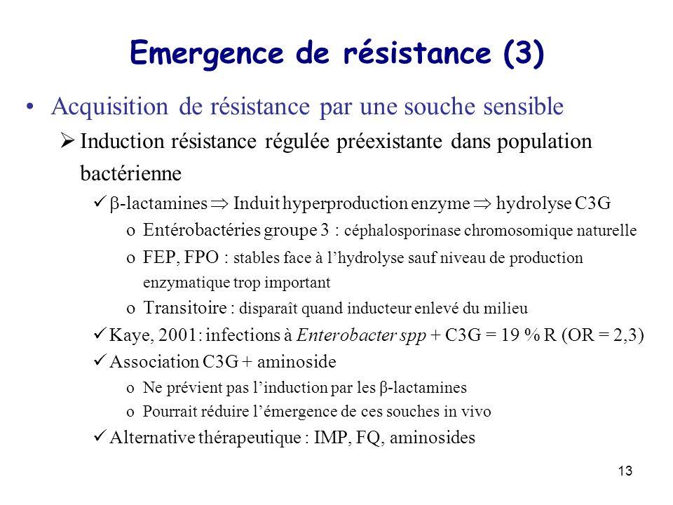 13 Emergence de résistance (3) Acquisition de résistance par une souche sensible Induction résistance régulée préexistante dans population bactérienne