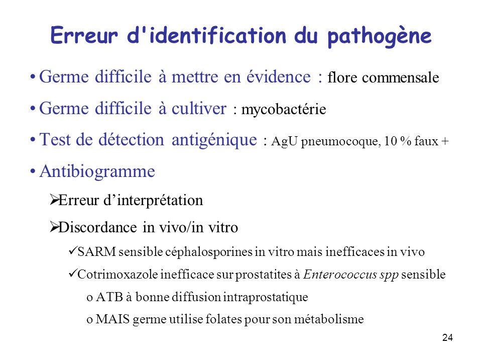 24 Erreur d'identification du pathogène Germe difficile à mettre en évidence : flore commensale Germe difficile à cultiver : mycobactérie Test de déte