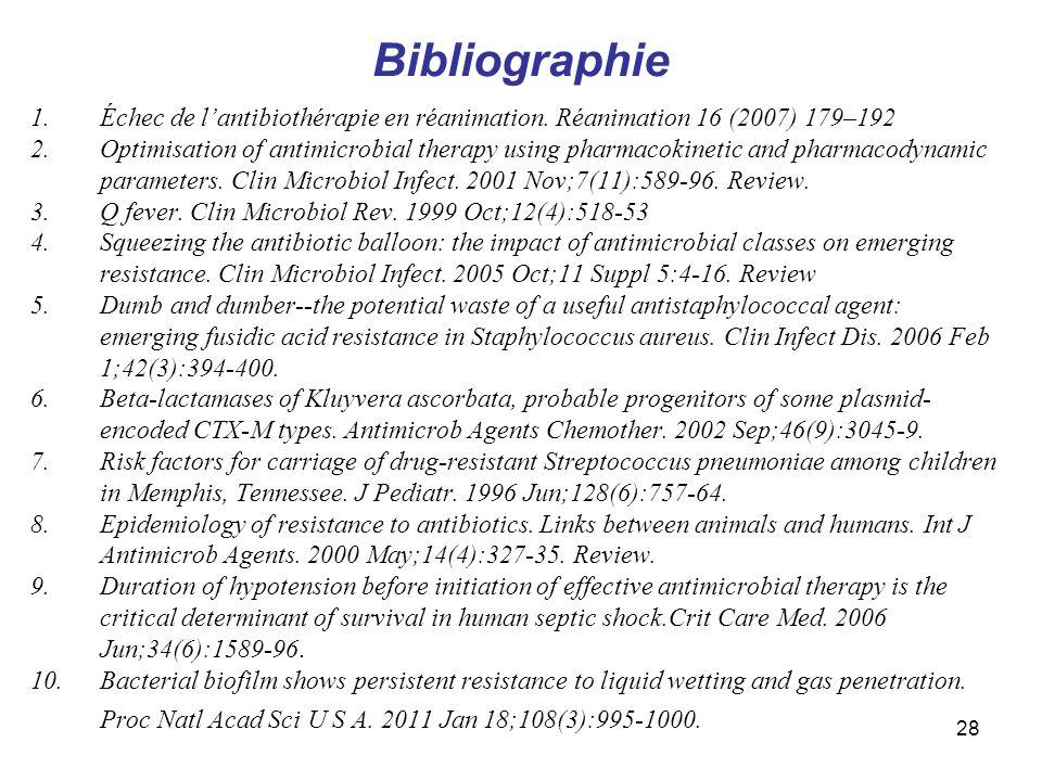 28 Bibliographie 1.Échec de lantibiothérapie en réanimation. Réanimation 16 (2007) 179–192 2.Optimisation of antimicrobial therapy using pharmacokinet