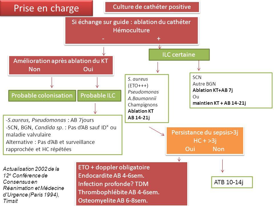Amélioration après ablation du KT NonOui Amélioration après ablation du KT NonOui Culture de cathéter positive Si échange sur guide : ablation du cath