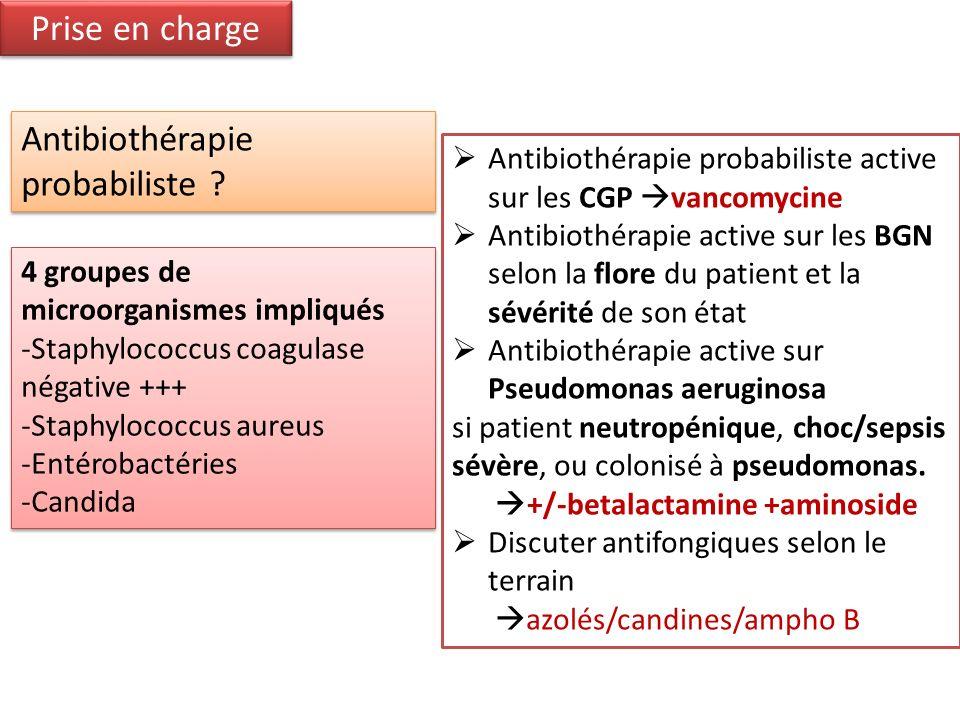Prise en charge 4 groupes de microorganismes impliqués -Staphylococcus coagulase négative +++ -Staphylococcus aureus -Entérobactéries -Candida 4 group