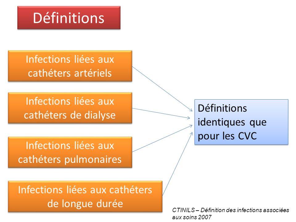 Définitions Infections liées aux cathéters artériels Infections liées aux cathéters de dialyse Infections liées aux cathéters pulmonaires Infections l
