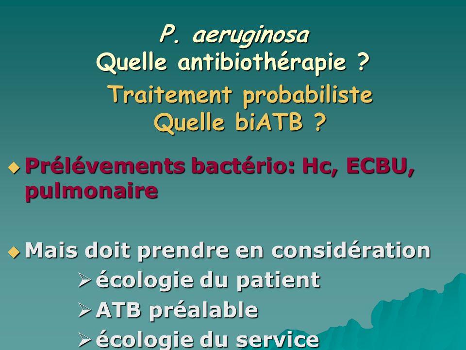 P. aeruginosa Quelle antibiothérapie ? Prélévements bactério: Hc, ECBU, pulmonaire Prélévements bactério: Hc, ECBU, pulmonaire Mais doit prendre en co