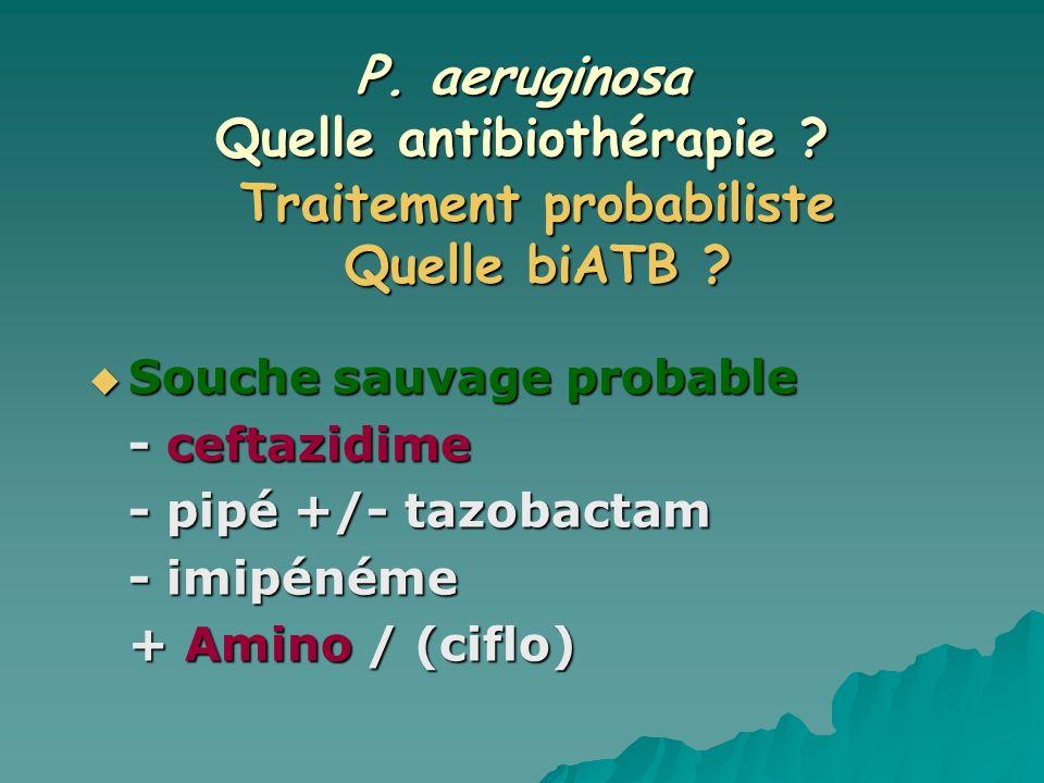 P. aeruginosa Quelle antibiothérapie ? Souche sauvage probable Souche sauvage probable - ceftazidime - pipé +/- tazobactam - imipénéme + Amino / (cifl