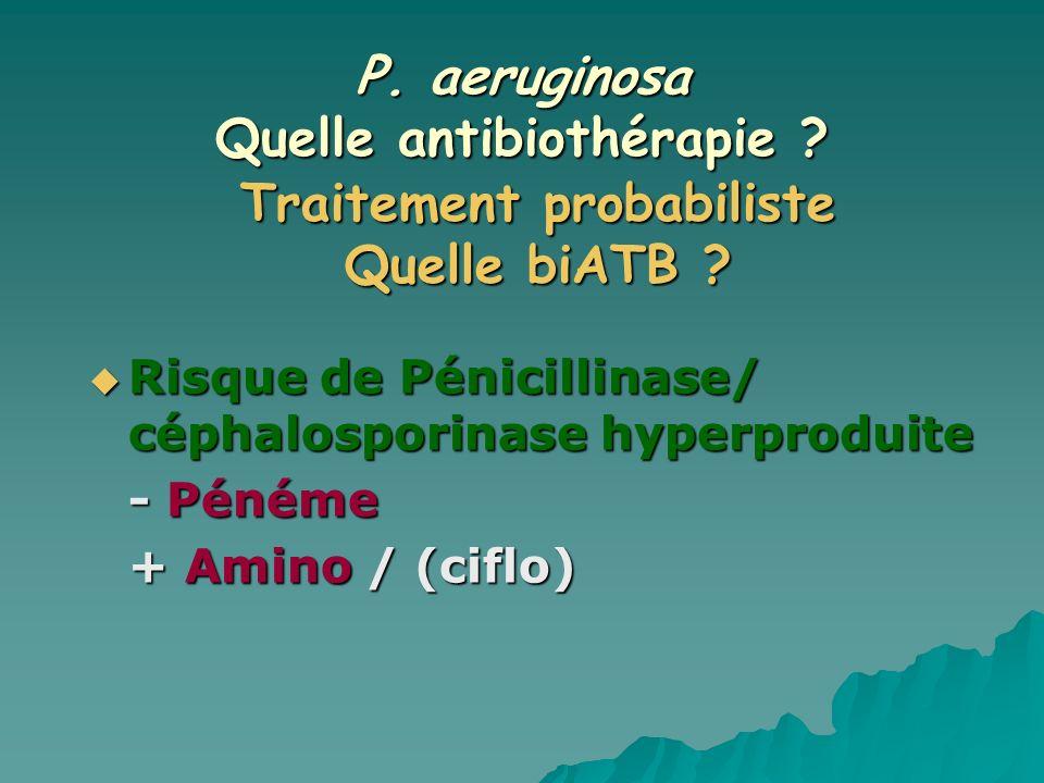 P. aeruginosa Quelle antibiothérapie ? Risque de Pénicillinase/ céphalosporinase hyperproduite Risque de Pénicillinase/ céphalosporinase hyperproduite